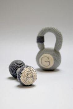 Crocheted Personalized Dumbbell toy and fitness Weight - Grey Crocheted Rattle Weights with initials - Baby boy gift