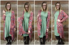 Wearing the LuLaRoe Sarah duster & LuLaRoe Amelia Dress Bright Cellars, Lularoe Amelia Dress, Stitch Fix, Kimono Top, My Style, How To Wear, Tops, Dresses, Women