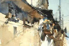 奧斯塔之牆 / The Wall of Aosta】18 x 26 cm watercolor Demo by Chien Chung Wei