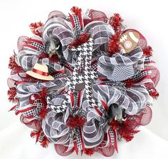 Alabama Crimson Tide Fan Deco Mesh Door Wreath by Crazyboutdeco on Etsy
