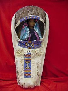 So beautiful - Vintage Pauite Reno Tribe Deer Hide Cradleboard w/ Doll