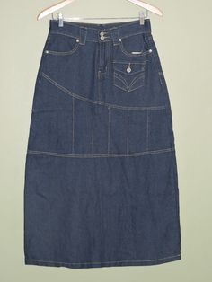 Fashionable Long Indigo Blue Denim Stretch Skirt Sz Large NWT #Other #LongSkirt
