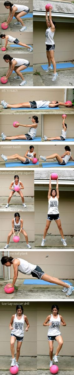 Medicine ball interval workout: Burpees, Sit 'n Reach, Russian Twist, Basketball Jump Squats, Medicine Ball Plank, & Toe Tap Soccer Drill..