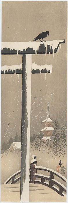 Japan. Torii and Crow in the Snow, 1910 Woodblock.