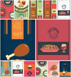Restaurant and cafe menu template modern set vector
