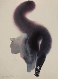 Art / Cat Work by Endre Penovác Watercolor