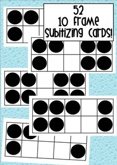 52 ten frame subitizing cards.I enlarged mine to A3 and use as flashcards during mat session and activity time.Great tool to help with subitizing and mental calculation skills in maths