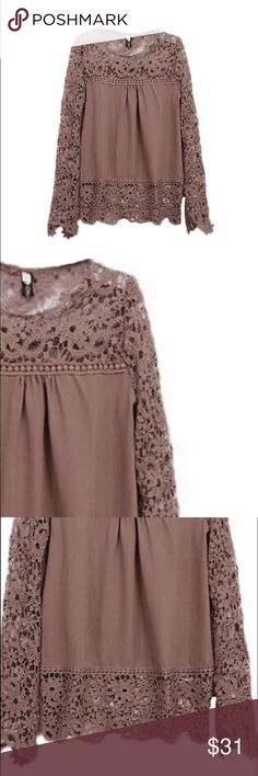 🎉 Coming Soon! Khaki Lace Baby Doll Top Medium 🎉 🎉 Coming soon! Lightweight rayon with lace trimmed blouse. Size medium but runs small. I currently have this top available in my closet in white 💗🎀🎉 Photo #4 is to show style and fit 🎀🎉 Tops Blouses