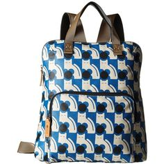 Orla Kiely Poppy Cat Print Backpack Tote (Powder Blue) Backpack Bags (430 BRL) ❤ liked on Polyvore featuring bags, orla kiely, zip bag, blue tote handbags, cat bag and blue backpack
