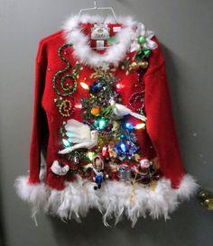Homemade Ugly Christmas Sweater, Diy Ugly Christmas Sweater, Tacky Christmas, Christmas Jumpers, Christmas Fashion, Kids Christmas, Xmas Sweaters, Christmas Clothing, Homemade Christmas