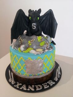 How to train your dragon cake - Toothless