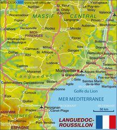 Karte von Languedoc-Roussillon (Frankreich)