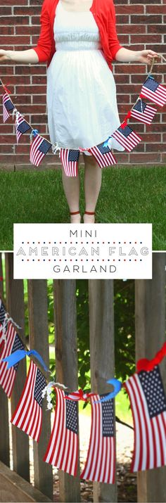 Mini American Flag Garland