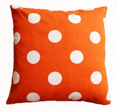 Orange dots pillow.  Fall decor for living room, bedroom, or nursery