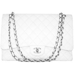 Pre-owned Chanel White Jumbo Caviar Classic Quilted Flap bag CIRCA... ($3,891) ❤ liked on Polyvore featuring bags, handbags, shoulder bags, accessories, purses, chanel, handbags and purses, leather shoulder handbags, shoulder handbags and leather crossbody purses