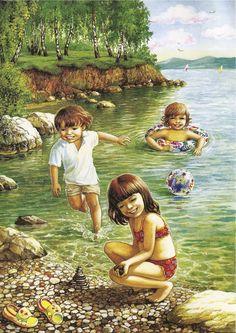 "Photo from album ""Лето"" on Yandex. Propaganda E Marketing, Illustration Mignonne, Picture Composition, Creation Photo, Country Scenes, Am Meer, Childhood Friends, Hello Summer, Summer Gif"