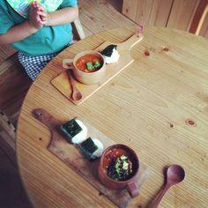 朝ご飯。  トマトスープ、おにぎり。 - @kayoringco- #webstagram