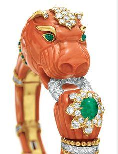 Elizabeth Taylor's coral, emerald, gold and diamond bracelet.  By David Webb, 1967