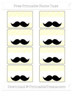 Cream Diagonal Striped  Mustache Name Tags