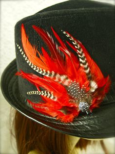 Feather Fascinator Hair & Hat Clip  CUSTOM by LoveJoyAdornments, $24.00