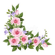 Pink roses corner. Vector illustration.