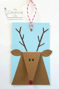 Cindy deRosier: My Creative Life: Reindeer Gift Tags Christmas Card Crafts, Preschool Christmas, Christmas Activities, Kids Christmas, Handmade Christmas, Holiday Crafts, Christmas Presents, Fun Crafts, Christmas Tables