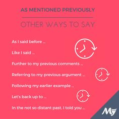 "Other Ways to Say ""As Mentioned Previously"""