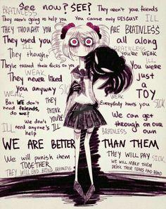 Lol my inner demons are worst-sdcupcakes Sad Anime, Manga Anime, Anime Art, Angst Quotes, Inner Demons, Sad Art, Yandere Simulator, Image Manga, Emo Girls