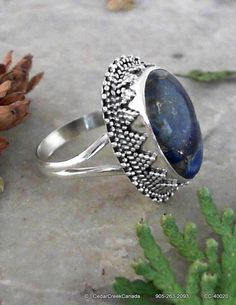 Copper Lapis Gemstone 925 Sterling Silver Ring by CedarCreekCanada