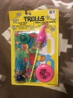 Vintage Trolls Play Pack Toys Sealed in Package Vintage Toys 80s, 1970s Toys, Vintage Stuff, 1980s Childhood, Childhood Memories, Toys Land, Acrylic Paint Pens, Toy Packaging, Vintage My Little Pony