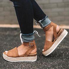 Espadrille Fechada Fechada jeans com salto em corda 9348