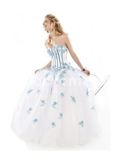 Satin and Tulle Sweetheart Neckline witn Empire Waist and Floor Length Ball Gown Style Prom Dress P-0048