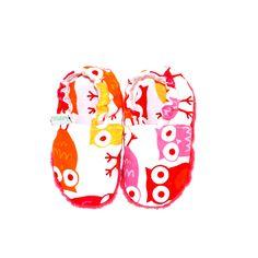 miniTuptusie SOWY RÓŻOWE Newborn shoes Pink Owls https://fiorino.eu/