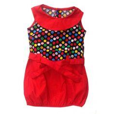 Vestido rojo con parte de arriba de lunares  y cuello redondo