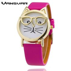 Cat Fashion Leather Strap Wrist Watch