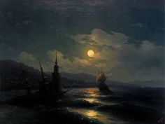 Ivan Aivazovsky. - View of Constantinople by Moonlight.from the sea. 1878