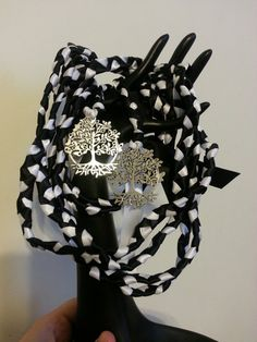 Beltane Tree of Life Wedding Handfasting Cord    9ft Hand Braided in satin ribbon in Black & White 5/8 satin ribbon ( make a nice thick rope like
