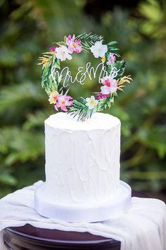 Tropical Wedding Cake Topper Floral Wreath Mr & Mrs Colorful Wooden Cake Decoration Wedding Decor Beach Destination Wedding (Item - TRM840)