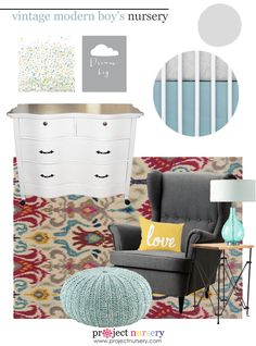 Modern Vintage Baby Boy Nursery Design Board