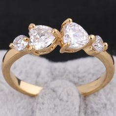 Lovely Double Heart Shape Zircon 18K Gold Plated Copper Ring High Quality Rings Two Sizes