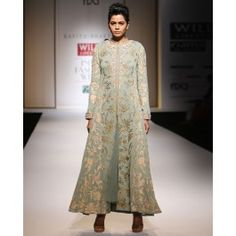 Chintz Embroidered Mist Green Jacket Dress and Skirt