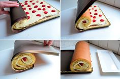 Cakerol met hazelnootpasta, vanillecrème en frambozen - Laura's Bakery