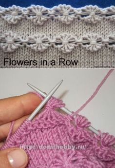 Knit Point of Flower Stitch Free Knitting Pattern+Video Knitting Stiches, Knitting Charts, Easy Knitting, Baby Knitting Patterns, Crochet Stitches, Stitch Patterns, Crochet Patterns, Diy Crafts Knitting, Knitting Projects