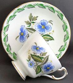 PARAGON TEACUP & SAUCER-BLUE FLOWERS  J730