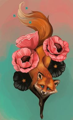 I'm thinking either fox or cat floral tattoo with this type of curving shape to flow with the curves of the body. Totally different art style though!