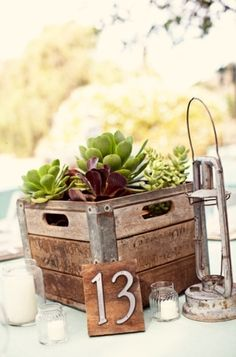 rustic but neutral with the succulents. maybe do babies breath at a couple tables, succulents at a few, and then colorful pretty flowers at a couple! Succulent Wedding Centerpieces, Modern Centerpieces, Masculine Centerpieces, Centerpiece Ideas, Milk Crates, Wooden Crates, Wooden Boxes, Diy Wedding Gifts, Wedding Decorations