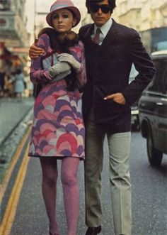 1968 print and matching purple tights