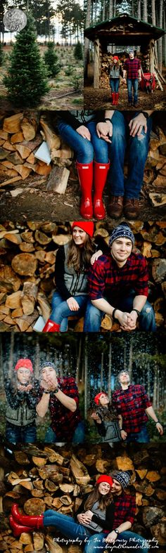 Christmas Session at Minnesota Tree Farm - engagement pictures >> Christmas couple picture ideas