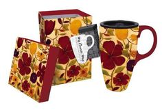 """Floral Spice Latte Travel Mug by Evergreen Enterprises, Inc. Save 37 Off!. $14.99. Dishwasher safe (top rack) and Microwave safe.. Holds 17 oz.. A unique gift idea. 6""""H x 5.25""""W x 3.5""""D. Packaged in matching attractive gift box. These floral patterns are as soothing as that first cup of java in the morning. Showing off the colors of the fall, flower blooms pop to life, celebrating the beauty of the natural world. Perfect for the savvy traveler or the person on the go, the Floral Spice Latte…"""