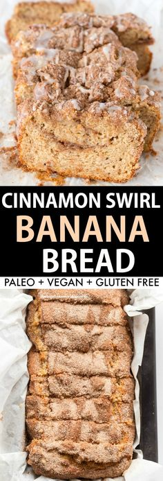 Healthy Cinnamon Swirl Banana Bread Recipe- Flourless and eggless moist banana bread with a cinnamon crunch on top! Paleo, Vegan and Gluten Free!